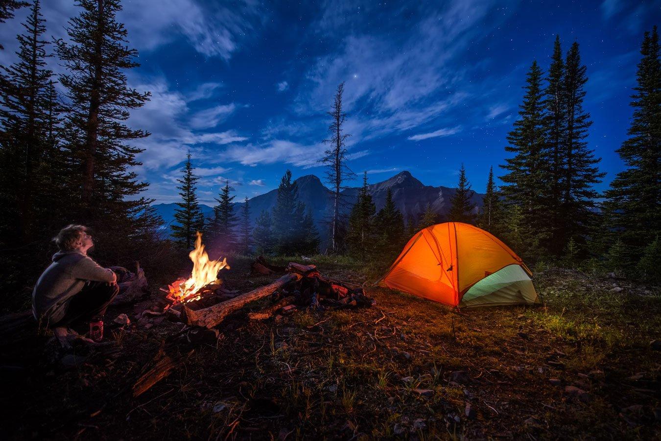 Night Time camping Water